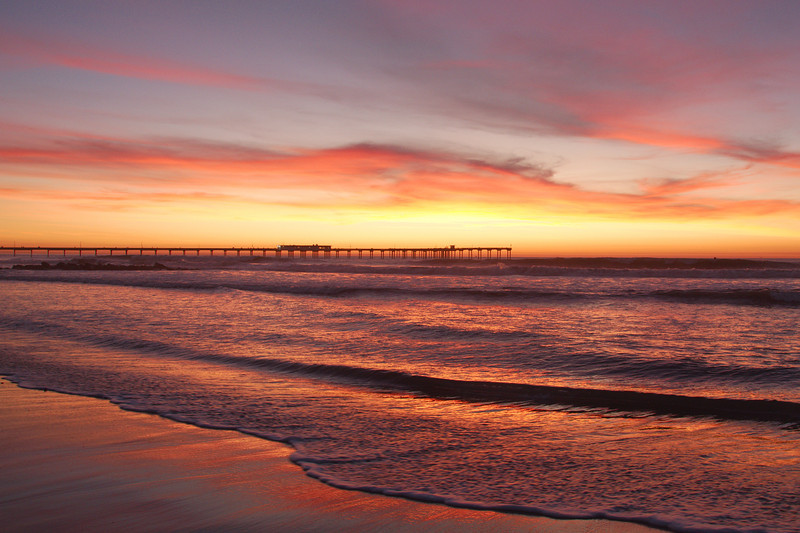 Beautiful sunset  with Ocean Beach pier in San Diego, CA.