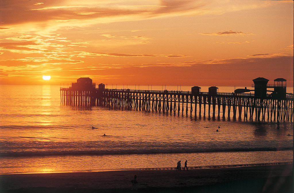 The Oceanside Pier and a vivid sunset in North San Diego County.