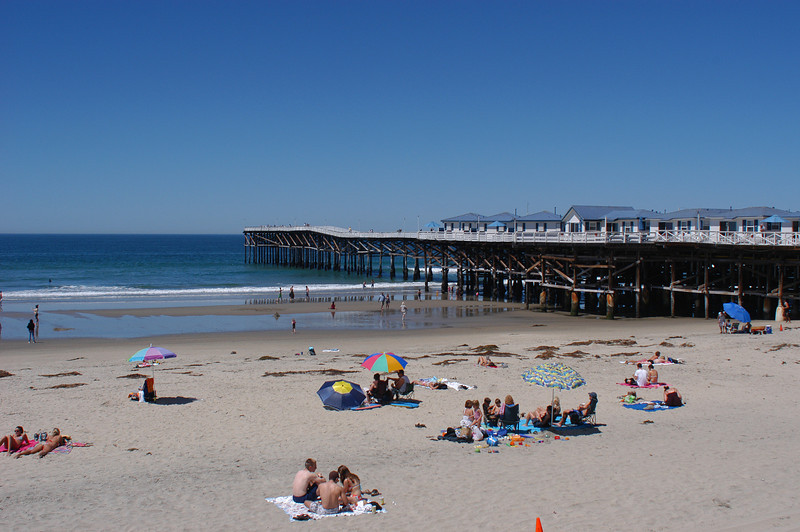 A nice day in Pacific Beach, home of the historic Crystal Pier with its hotel cottages, in San Diego, California.