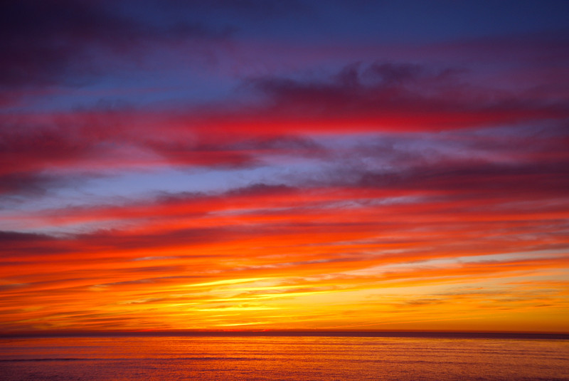 Colorful sunset from Point Loma, San Diego, California.