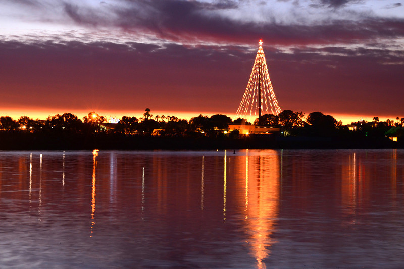 Holiday lights glow on the Seaworld tower in San Diego, California.