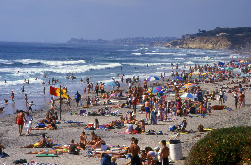 Del Mar Beach, near San Diego, California on a warm summer day.