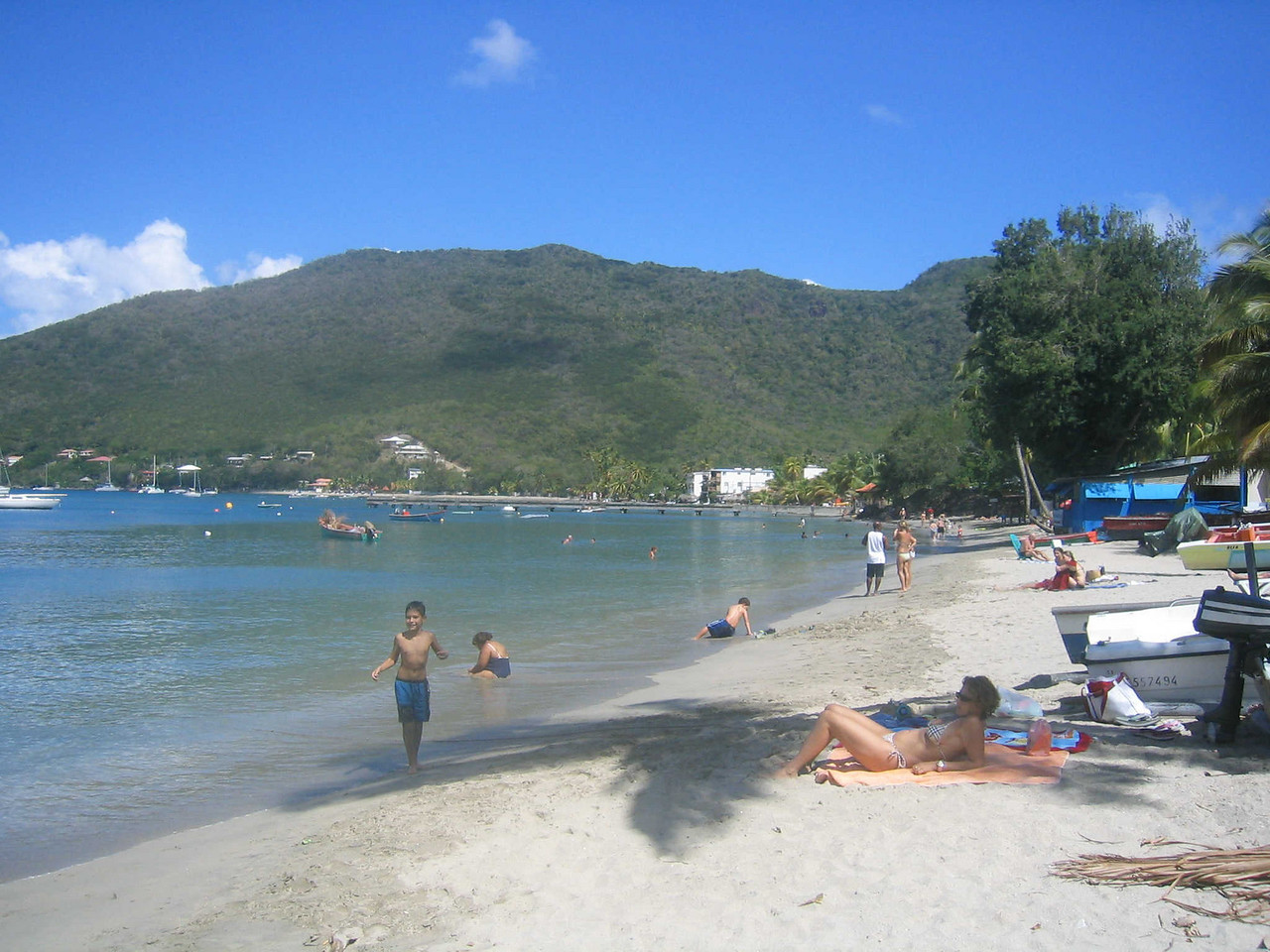 The beach at Grande Anse is rather narrow, but it is long, and there is lots to do.