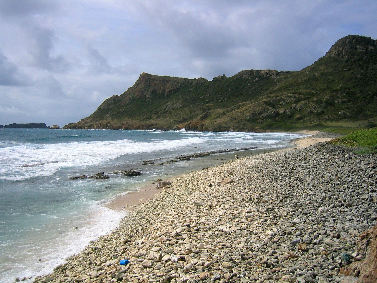 The, uh, er, beach at Grand Fond. We do not consider it swimmable, but this is the starting point for a hike to Morne Rouge and a view overlooking Saline Beach. (geotagged)