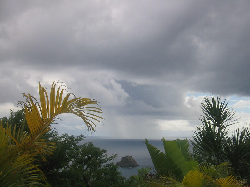 A storm obscures our view of Saba from our villa, Ker Roche Glaze in Colombier.  The villa is built so that you have great views of both the Atlantic and Caribbean from the living room.(geotagged)