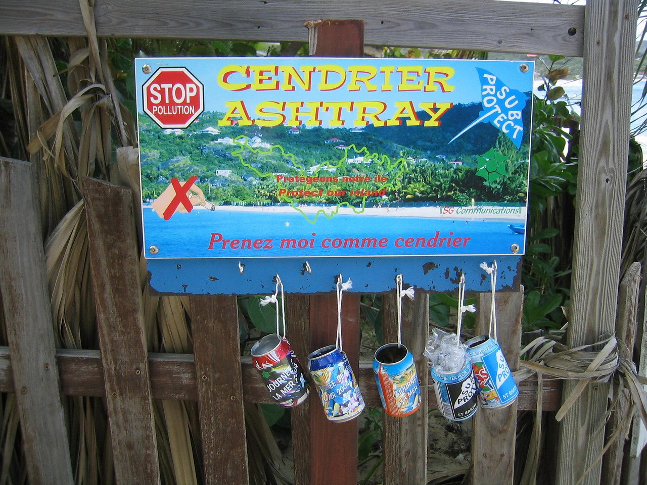 To help reduce litter on the beaches, people have hung cans near the entries to the beaches, asking people to use them for their ashtrays and butts.