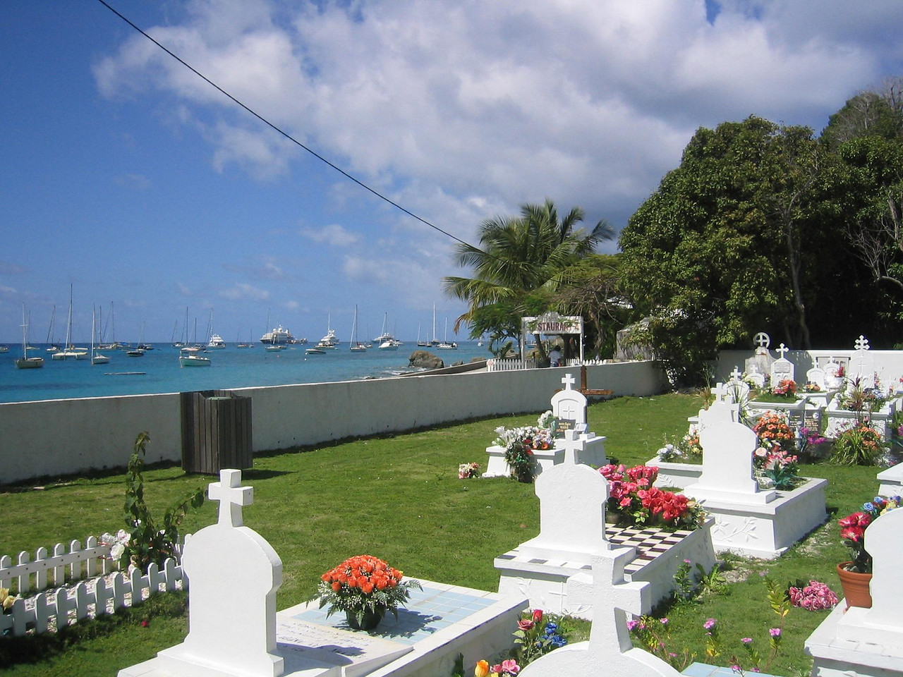 The cemetary in Public overlooking the Caribbean; St. Martin is on the horizon.
