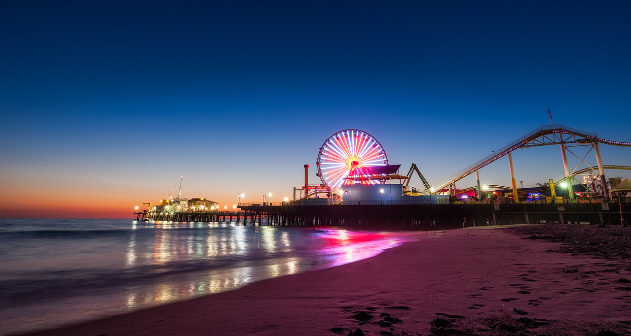 Clear Blue Night Over Santa Monica Pier