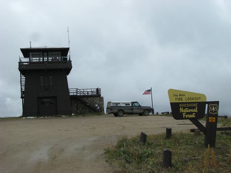 Due to technology fire towers are going by the wayside.  This one is being renovated by volunteers and will be staffed by the same.  A snowstorm came in while we were in this one.