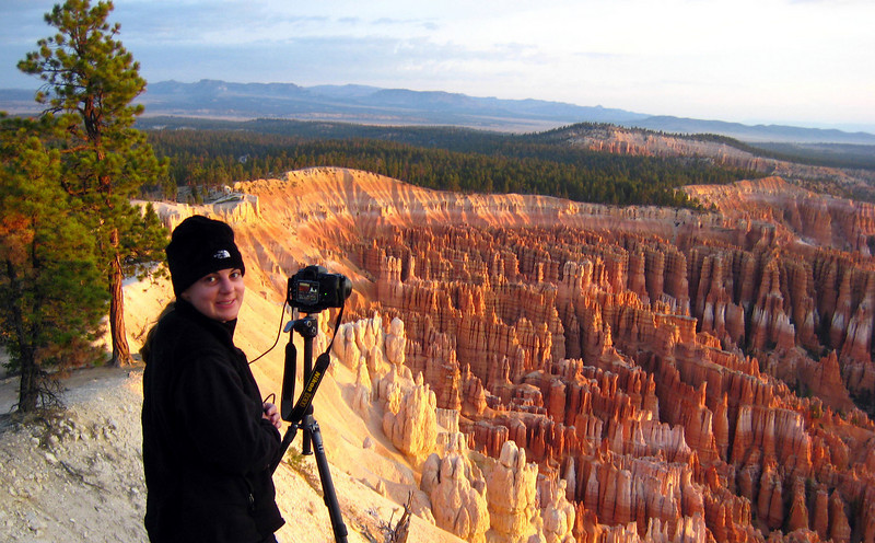 Photographing on the rim of the amphitheater at sunrise. Bryce Canyon National Park, UT. 10/3/08