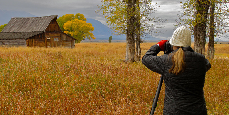 Composing a shot of an old homestead. Mormon Row, WY. Oct 2011