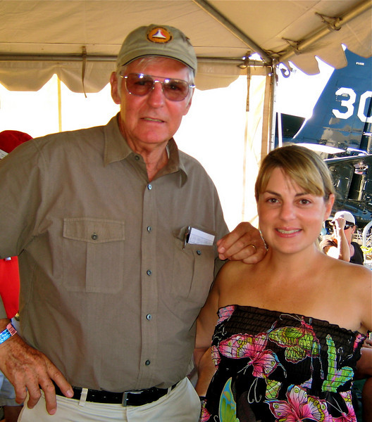 "I had the absolute pleasure of meeting Dick Rutan at the National Air Races (inside the VIP tent). Reno, NV 9/19/09.<br /> On one tank of gas, Dick Rutan flew a carbon composite honeycomb sandwich airplane, (today known as The Voyager) around the globe without refueling. Taking off from Edwards Air Force Base in California on December 14, 1986 and landing 9 days, 3 minutes and 44 seconds later on December 23, 1986, the"" Voyager"" set absolute distance records and many other world records that remain unchallenged today."