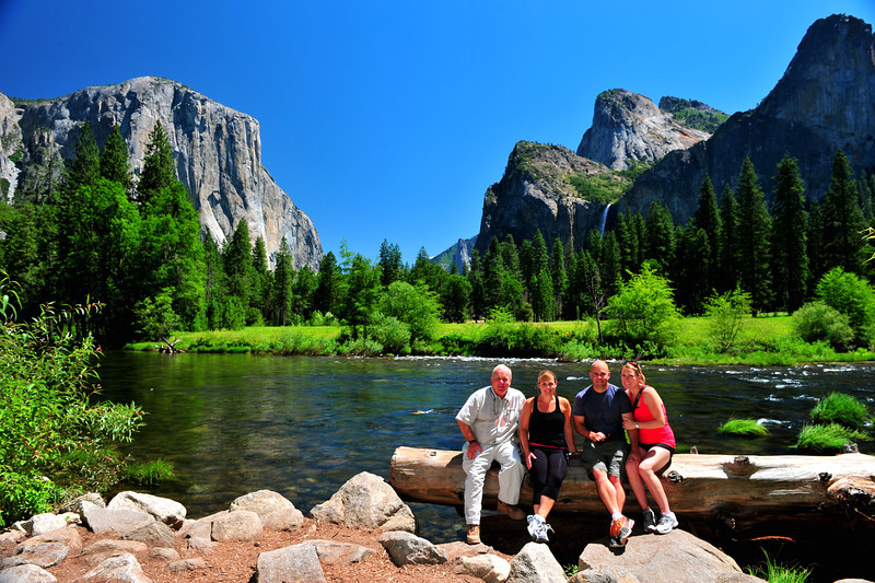 Family self timer shot (dad, me, brother Scott and sis-in-law Johanna).  Valley View, Yosemite NP. 8/4/11