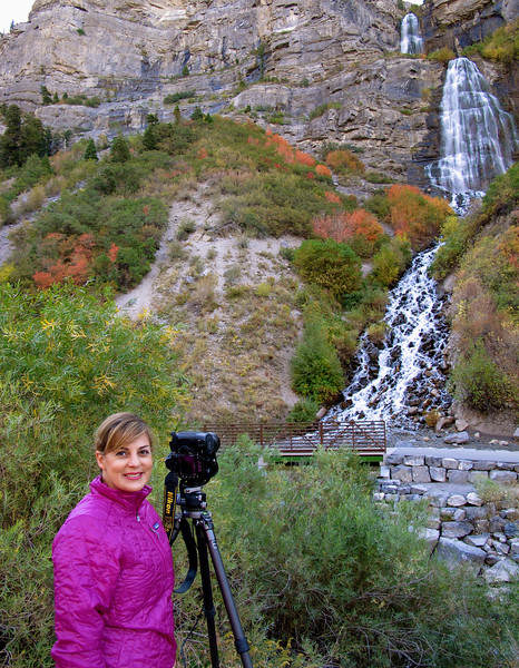 Photographing Bridal Veil Falls, Utah backcountry.  Oct 2011