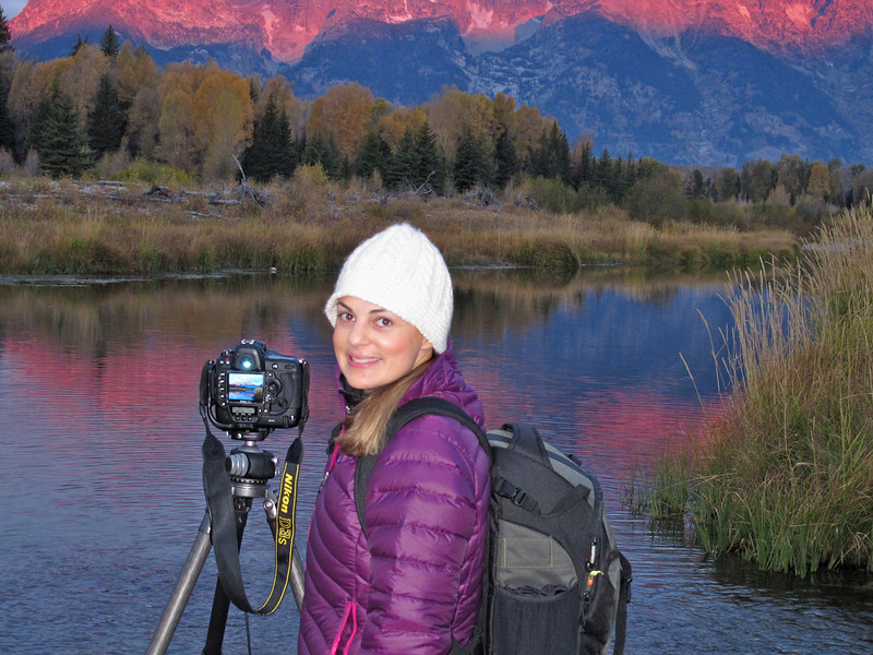 Photographing at Schwabacher Landing as the sun rises over the Teton's.  Oct 2011