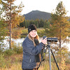 Photographing the Tetons while waiting for sunset at Oxbow Bend, WY.