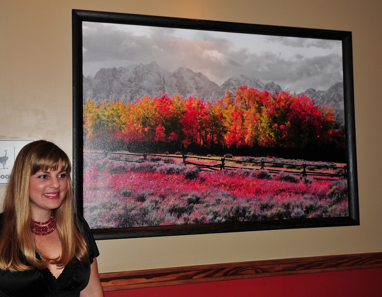 Lazy Dog Cafe, launch party.  One of my Grand Teton images.