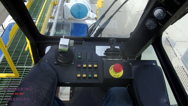 At the controls, ready to spray