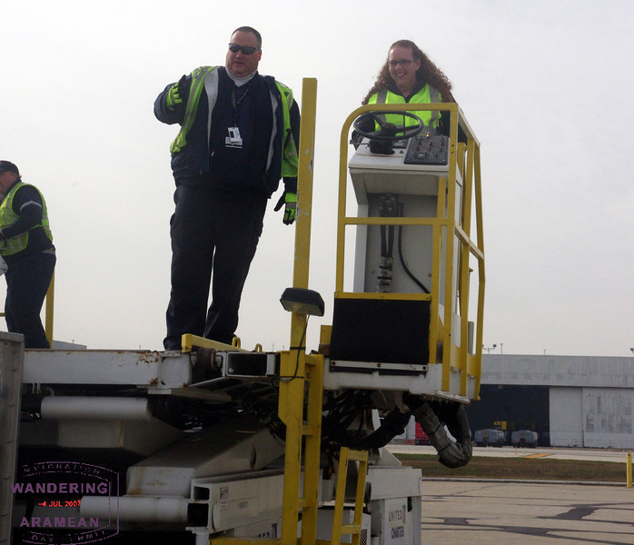 Michelle takes a go on the deck loader