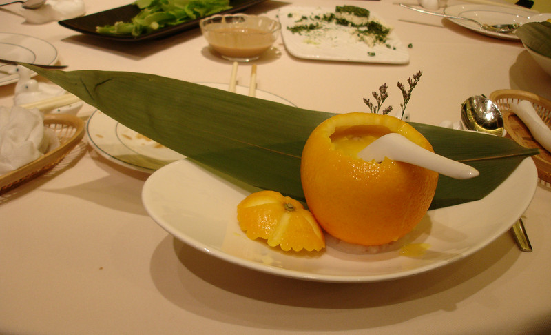 Duck soup at Dadong, served in an orange. Looks better than it tastes.