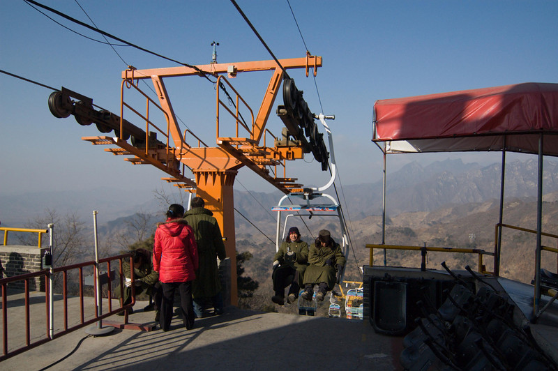 The ski lift at the Mutianyu Great Wall site