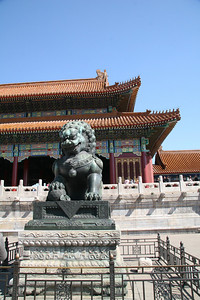 One of the two standard lions which guard the entrance to so many Chinese buildings;  the one on the right has his paw on the world (think about that for a minute, and these things are centuries old), and the lion on the left has a paw on a lion cub.