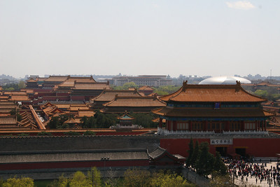 Nice view of the Forbidden city, tourists streaming out the north gate, and the nice new performance egg, er hall, in the background.