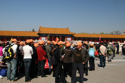Almost everyone else was in a tour group, the blue hats, the red hats, the orange hats.  I can see 4 little 'leader flags' in this picture alone.  This worked to our advantage since the Forbidden city entrance for individuals had almost no line.
