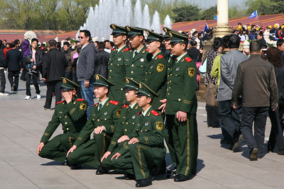 Even the PLA wants a photo in front of the huge picture of Chairman Mao over the Forbidden City entrance.
