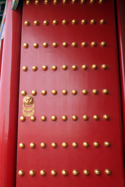 9 is a lucky number, so the doors have 9 rows of 9 rivets.