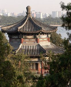 Part of the Summer Palace and part of modern Beijing.