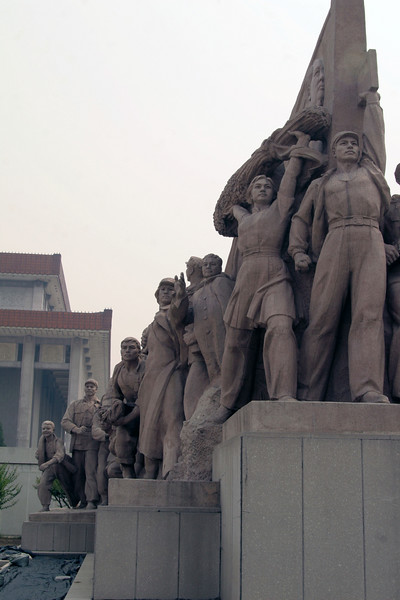 "The ""Leaders"" on both sides of Chairman Mao's tomb, which was closed for renovation (for the 2008 Olympics. No dead Mao for Amy, unfortunately."