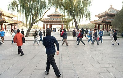 Seniors dancing at Bei Hai Park.