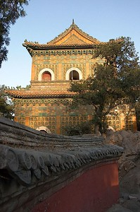 The Summer Palace has a Buddhist temple called the Hall of the Sea of Wisdom. It is also known as the Beamless Hall because it uses no beams to support its roof.