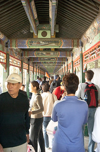 The Long Corridor (728m) at the Summer Palace. Each beam has a different painting on each side. There are 273 beams.