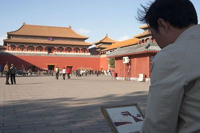 Artist painting the Forbidden City.