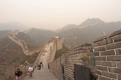 A view from the top of the Great Wall.