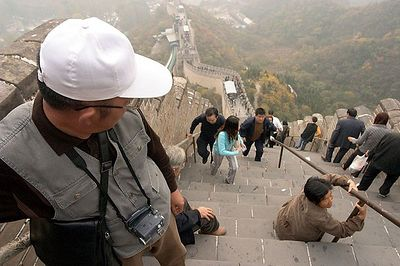 Very steep steps on the Great Wall.