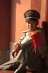 Guard relaxing at the Temple of Heaven.