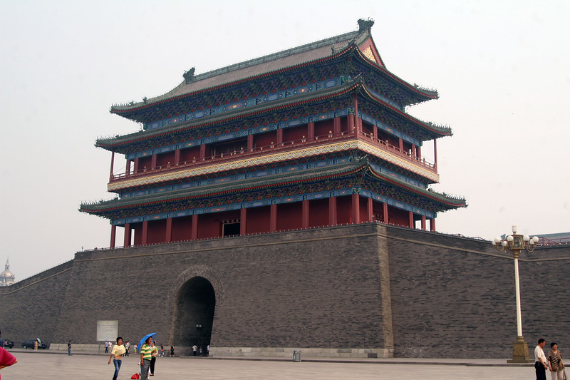 Originally, Beijing was surrounded by a wall. There were 9 gates used to enter into and out of the city. This is one of the 9 gates. The wall no longer exists.
