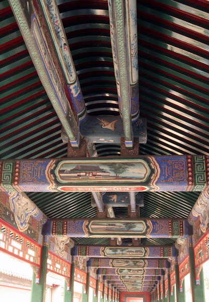 Beautiful handpainted ceiling at the Summer Palace.