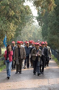 One of the many tour groups with hats to help identify them.