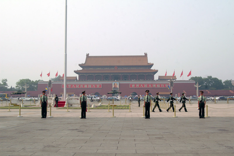 Flag ceremony at Tienanmen Square