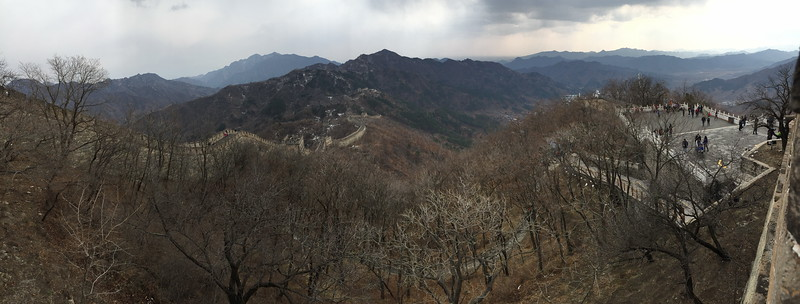 Panoramic picture of Mutianyu Great Wall, covering south on the right side, to east on the left side