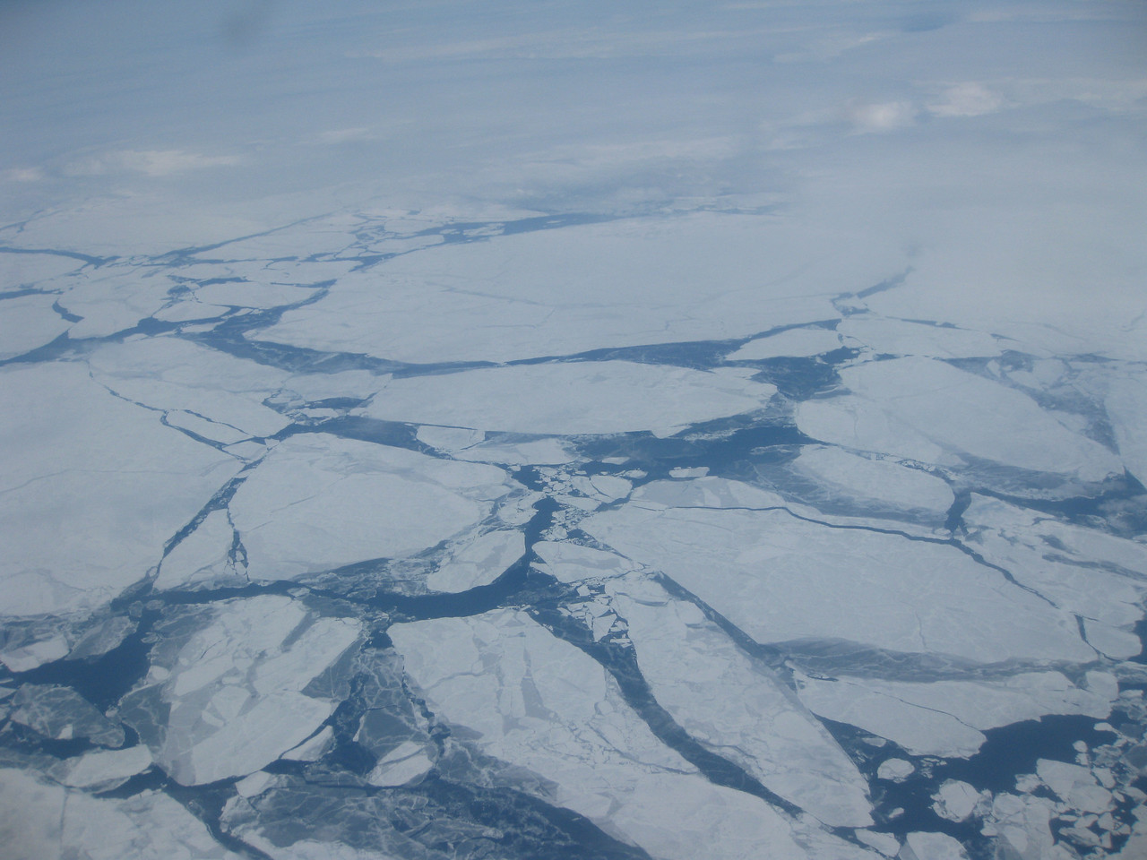 Flying over the Bering Sea.