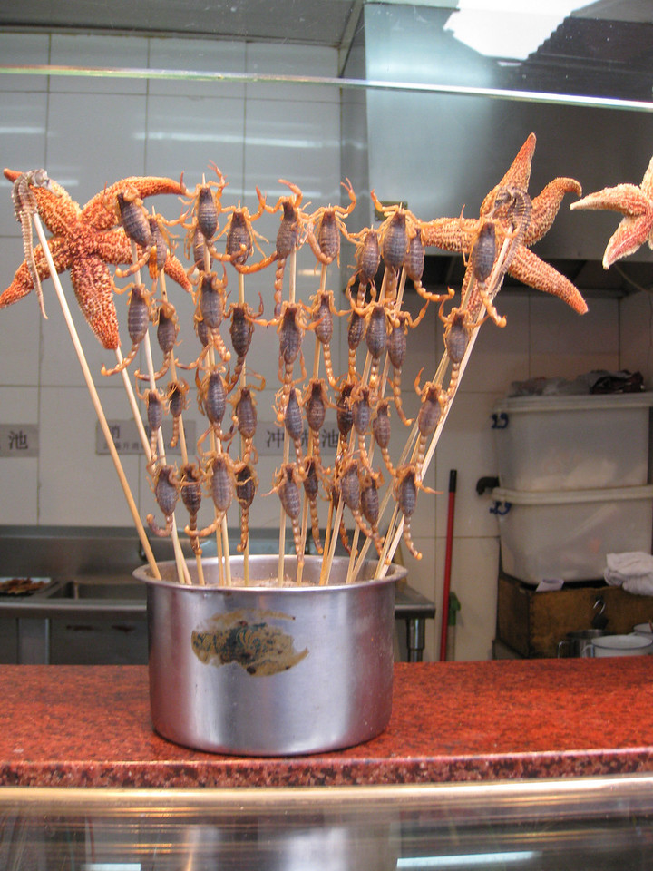 That's right - those are scorpions on a stick. And they're alive. And moving.