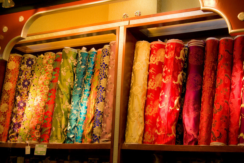 In a silk shop.