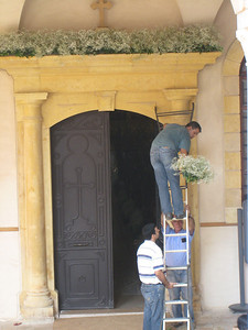 The entrance to St George's being decorated for a wedding.