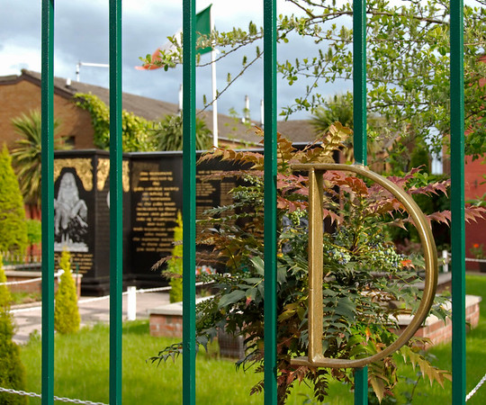 IRA garden of remembrance, Falls Road, Belfast, 7 May 2009 6.  The D in the railing refers to D company, IRA.