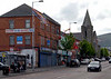 Shankill Road, Belfast, 7 May 2009.  Looking west past Spier's Place.